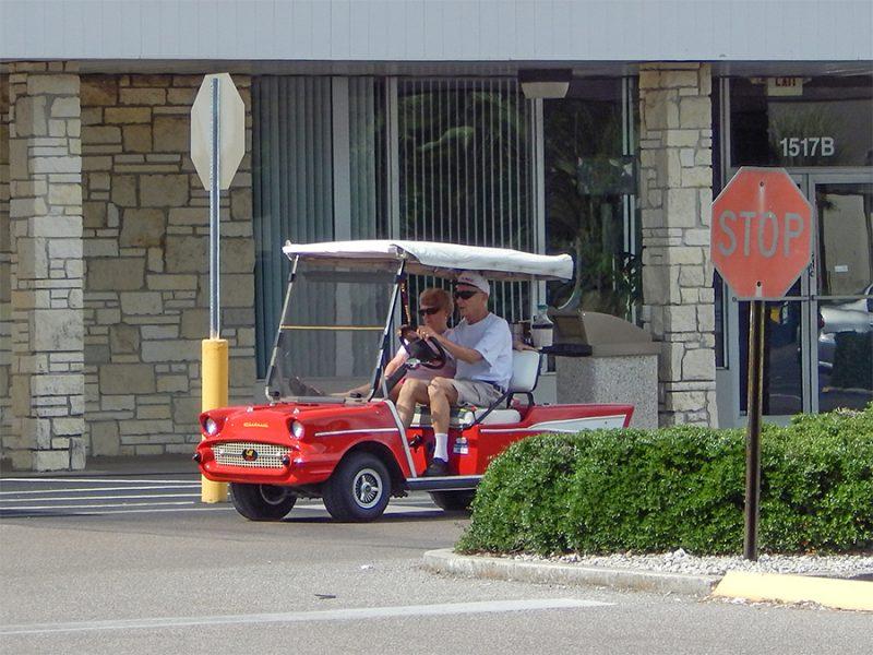 57 Chevy Bel Air golf cart at stop sign