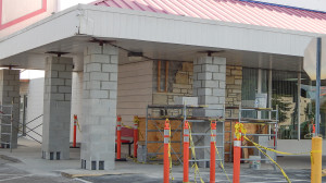 Aug 6, 2014 - new blocks added around pillars on 1960 strip mall in Sun City Center Plaza