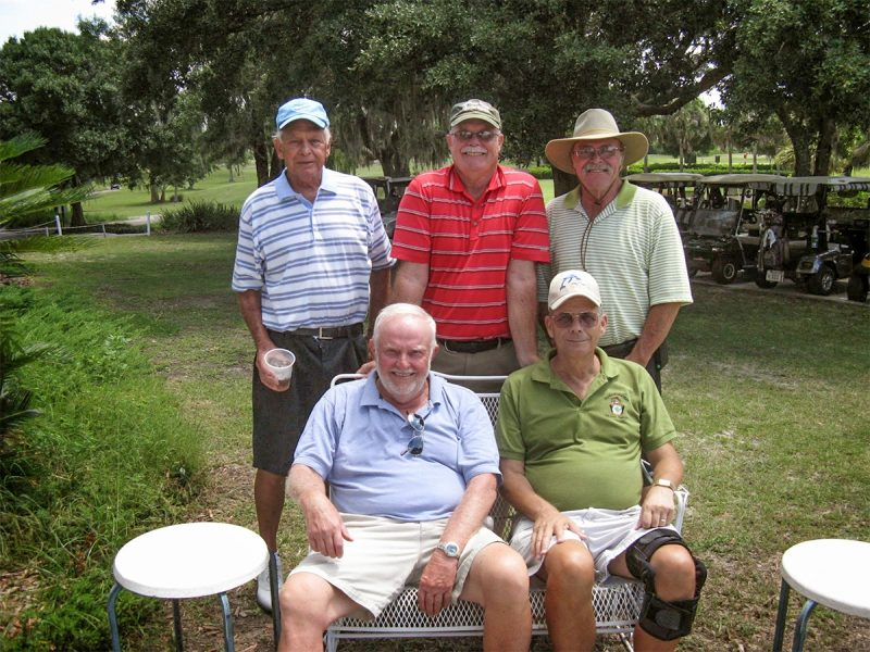 Back Row Left to Right:  Don Mowry, Mike Brock, and Paul Swakow | Hogans Golf Scores played on Sandpiper Golf Course Lake-Palms in Sun City Center
