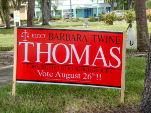 Aug 2, 2014 - Barbara Twine Thomas sign by Sun City Center Chamber of Commerce