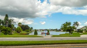 Blue skies at Simmons Lake Garden on S Pebble Beach Blvd, Sun City Center, FL