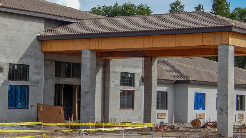 July 26, 2014 - Construction of portico at Inspired Living At Sun City, The Areas Newest Alzheimers Care Faciltiy