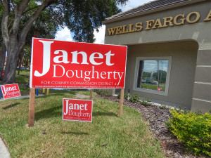 Aug 2, 2014 - Janet Dougherty 2014 campaign sign for County Commission District 4