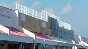 July 18, 2014 - plywood attached to 2x4 aluminum planks on Sun City Center Plaza