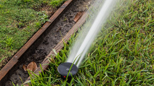 July 20, 2014 - head of high pressure sprinkler sprays water on lawn bowling field in Kings Point