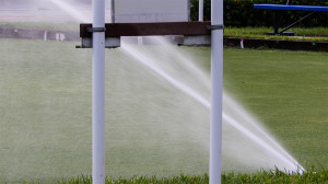 July 20, 2014 - high pressure sprinkler spays entire lawn bowling field in Kings Point