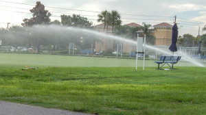 July 20, 2014 - lawn bowling sprinkler with main gate in background in Kings Point