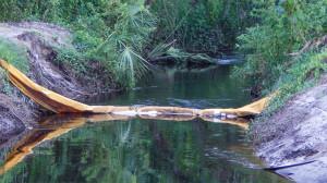 July 20, 2014 - orange yellow material running across creek on Kings Blvd