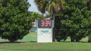 July 22, 2014 - Scepter Golf Club CLUBLINK(Big led digital clock and temp outside of club) in the gated Kings Point section of Sun City Center, FL