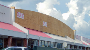 July 24, 2014 - construction update, plywood arch on Sun City Center Plaza
