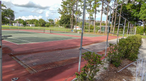July 26, 2014 - replacing fence at tennis courts at North Course Complex in Kings Point, Sun City Center, FL