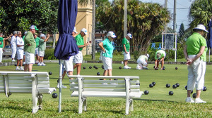 March 19, 2014 - Men and women of the Lawn Bowling club wearing green honoring St. Patrick's Day while playing at the North Course Complex in the gated community of Kings Point, Sun City Center, FL
