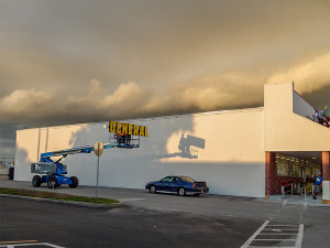 July 8, 2014: New GENERAL sign gets lifted to roof of Dollar General is Sun City Center Plaza