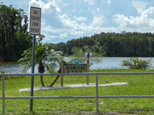 'No Fishing On Bridge' on North Lake on N Pebble Beach in Sun City Center, FL