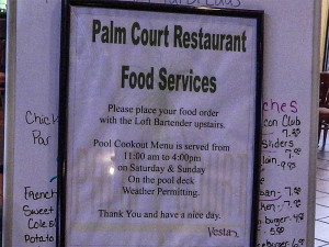 Palm Court Restaurant allows residents upstairs in The Loft Lounge bar to order from the menu