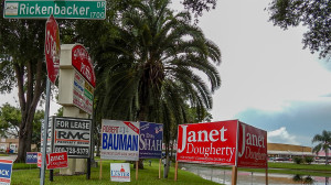 July 25, 2014 - Rickenbacker Drive with colorful 2014 campaign signs of Robert Bauman, Janet Dougherty, Dipa Shah, Robin Lester in Sun City Center FL 33573