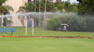 Sprinkler watering Lawn Bowling greens in Kings Point