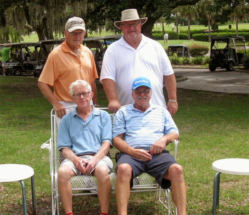 Standing Left to Right, Frank Rovananik and Ruben Jones, Seated Left to Right, Hank Smythe and Paul Swakow Sandpiper Golf Course scores, Sun City Center