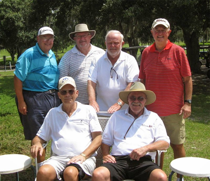 Standing Left to Right: Mike Greenwood, Ruben Jones, Rich Lucidi, and Mike Miller, Seated Left to Right: Bill Barron and Paul Swakow Hogans Golf Club at Sandpipers Lakes-Palms Course in Sun City Center