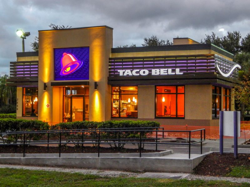 Taco Bell after construction at night in Sun City Center, FL