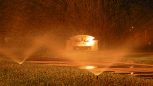 Automated sprinklers water grass near Falcon Watch Golf Club at night in Kings Point