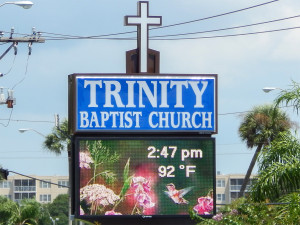 LED sign displays time and time in Sun City Center, FL