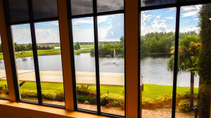 LOFT LOUNGE dinning area has beautiful view overlooking Scepter Golf Course in Kings Point