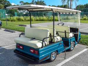 Rear view of blue Pargo Eagle golf cart with six seats