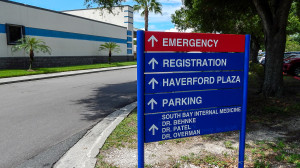 Aug 13, 2014 - South Bay Hospital sign pointing to Registration in Sun City Center, FL