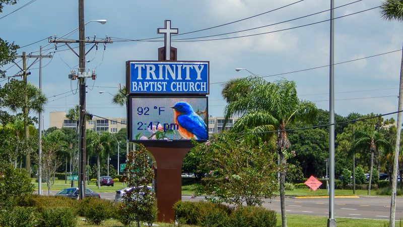 Time and temp LED sign at Trinity Baptist Church on Sun City Center, Blvd
