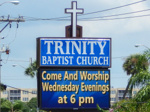 Trinity Bapstist Church LED sign displays times of Worship is on Wednesdays at 6 pm in Sun City Center, FL