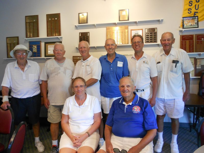 Labor Day Tournament SCC Lawn Bowling Club 2014 - Seated in first row are Mel Grazano and the Tournament Director Ray Turman. Standing left to right: 2nd place team: Ron Wilhelm, vice; Shep Sheppard, lead and Howard Baker, skip. Lead were 1st place winners Ben Caudil, skip; Jim Casper, vice; and Dave Barrett. [submitted by SCC Lawn Bowling Club]
