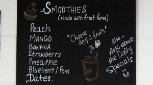 Smoothie Menu, Cafe Di Luna, Sun City Center, FL