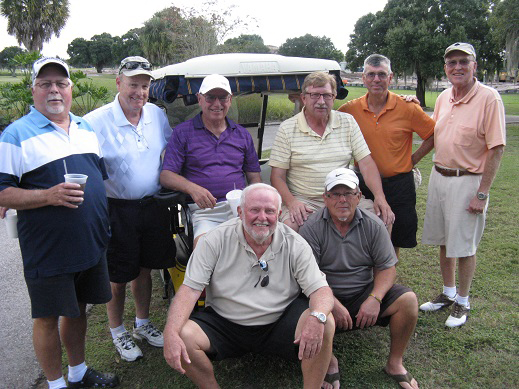 Standing (L to R) Bill Konopasek, Frank Obrien, Jerry Stemas, Rex Gibbons, Jim Sari, and Tom Gotschall, Seated (L to R)  Rich Lucidi and Tom Rosata | Hogans Golf Club of Sun City Center and Kings Point