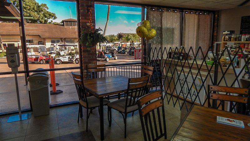 Window view at Cafe Di Luna, Sun City Center, Florida