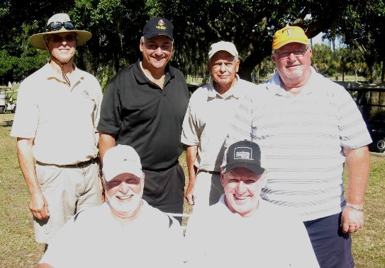 Back L to R:  Doug McFaul, Syl Amos, Don Mowry, and Ruben Jones, Front L to R:  Wilf Pennell and Steve Parks | Hogan Golf Club at Sandpiper Oaks-Lakes Course