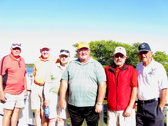 R to L: Bob Harris, Steve Parks, Frank O Brien, Norm Taylor, and Fran Hendrickson of Hogans Golf Club of Sun City Center and Kings Point
