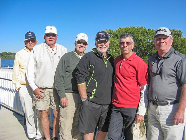 L to R: Francis Hendrickson, Bob Harris, Frank O Brien, Wilf Pennell, Jim Sari, Joe Pickett | Hogans Golf Scores for Riverside Golf Course in Ruskin FL/Hogans Golf Club