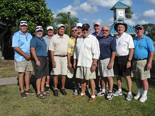Left to Right:  Bob Harris, Wilf Pennell, Ruben Jones, Don Mowry, Jim Sari, Dan Stephens, Rich Lucidi, Steve Parks, Norm Taylor, Travis Lansberry, and Joe Pickett | Hogans Golf Club of SCC & KP play at Imperial Lakewoods Golf Club, Palmetto, FL /Hogans Golf Club