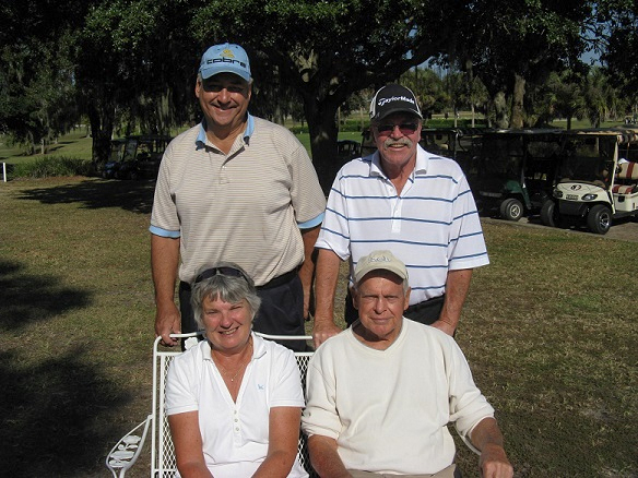 Standing L to R:  Syl Amos and Paul Swakow, Seated L to R: Sue Fitts and Don Mowry | Hogans Golfing  Club in Sun City Center FL