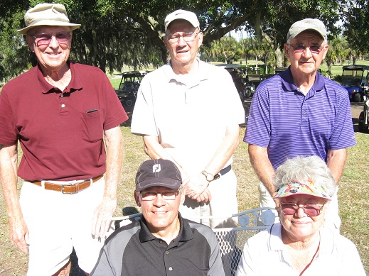 Standing L to R: Tom Gotschall, Reggie Ryan, and Bill Healey, Seated L to R: Mike Arghittu and Hilde Karl | Hogans Golf Club at Sandpiper Golf Course Oaks-Lakes
