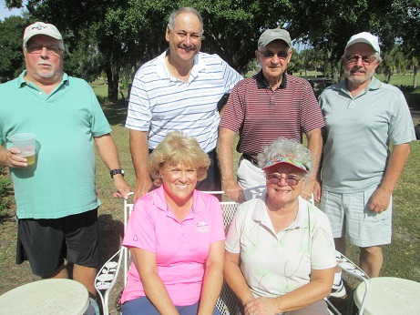 Standing L to R: Bill Konopasek, Syl Amos, Bill Healey, and Norm Taylor, Seated L to R: Jackie Amos and Hilde Karl at Sandpipers Golf Course in Sun City Center