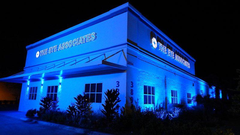 November 13, 2014 - The Eye Associates building at night lights up in blue Sun City Center, FL