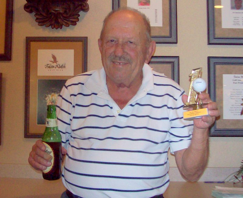 Vid Valiusaitis celebrates his 10th hole in one at Falcon Watch Cypress course in Kings Point, Sun City Center, FL