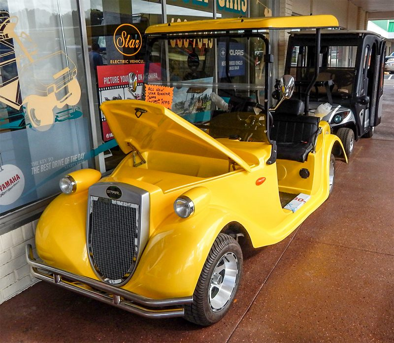 Yellow Roadster golf cart by STARev