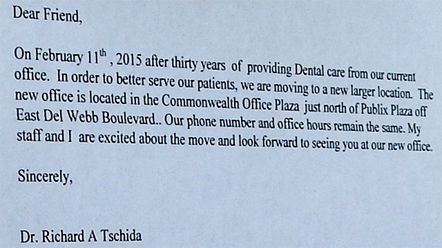 Dentist Tschida Richard post letter about moving to new location on Del Webb in Commonwealth Office Plaza, Sun City Center