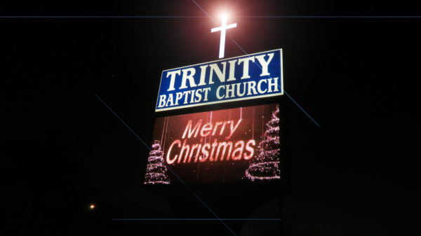 Merry Christmas on sign at Trinity Baptist Church 674, Sun City Center, FL