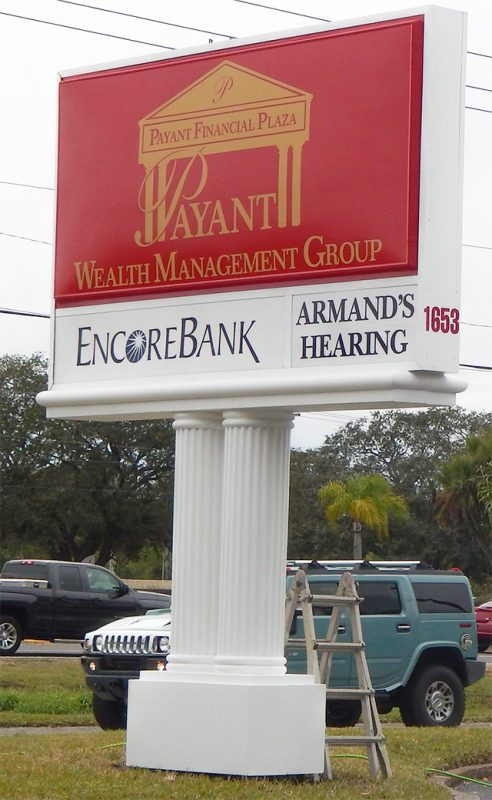 New sign in Payant Financial Plaza for Wealth Management Group Armands Hearing, Encore Bank, Sun City Center