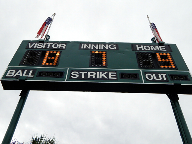Score board used in Softball Tournament on Don Senk field, Sun City Center, Florida