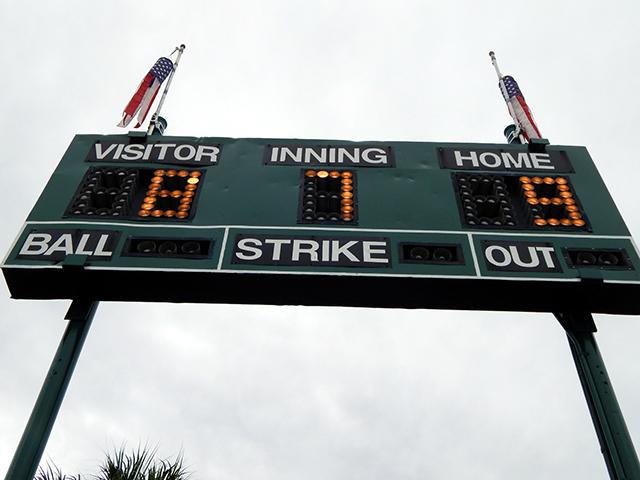 Score board used in Softball Tournament on Don Senk field, Sun City Center, Florida